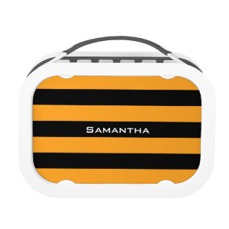 Black and orange stripes pattern replacement plate