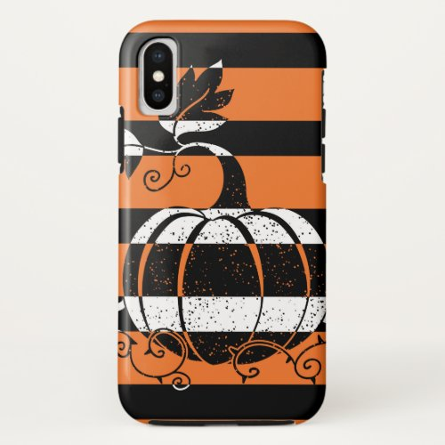 Black and orange stripes with pumpkin iPhone x case