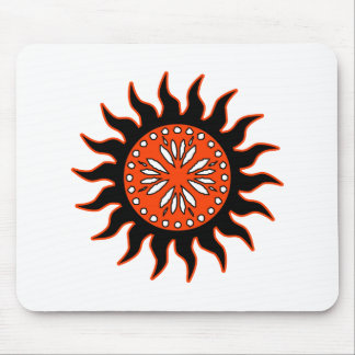 Black and Orange Sun Mouse Pad