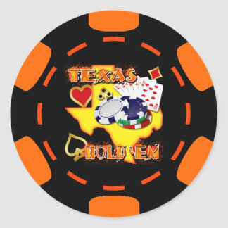 BLACK AND ORANGE TEXAS HOLD 'EM POKER CHIP CLASSIC ROUND STICKER