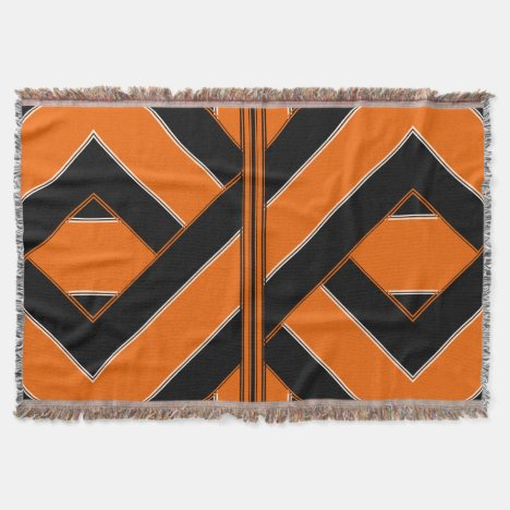 Black and Orange Uniquely-Patterned Throw Blanket