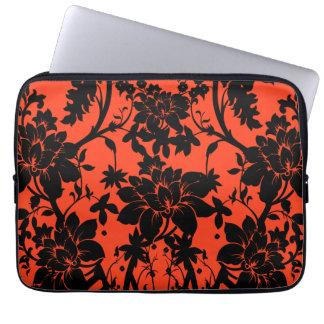 Black and orange vintage style floral design laptop sleeve