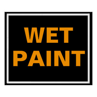 Black and Orange Wet Paint Poster