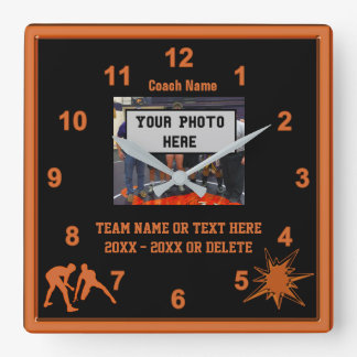 Black and Orange Wrestling Coach Gifts PHOTO, TEXT Square Wall Clock