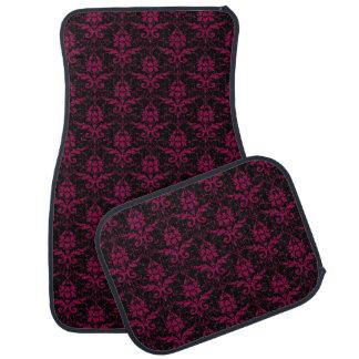 Black and Orchid Pink Damask Car Mat Set