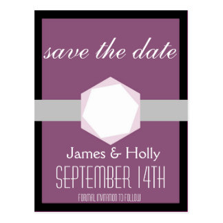 Black and Orchid Save the Date Postcard