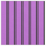 [ Thumbnail: Black and Orchid Stripes/Lines Pattern Fabric ]