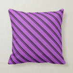 [ Thumbnail: Black and Orchid Stripes/Lines Pattern Pillow ]
