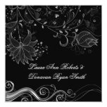 "Black and Ornate Silver Floral Swirls Post Wedding 5.25"" Square Invitation Card"