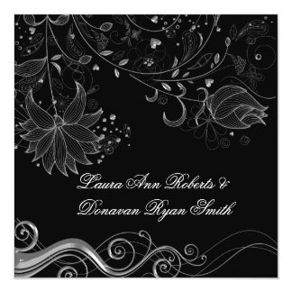 Black and Ornate Silver Floral Swirls Post Wedding Announcement