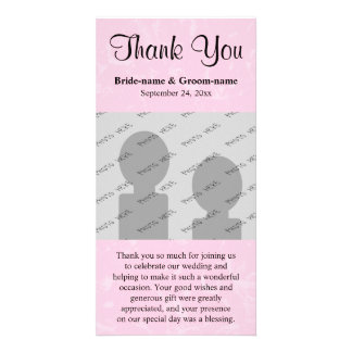 Black and Pastel Pink with Subtle Pattern Wedding Photo Greeting Card