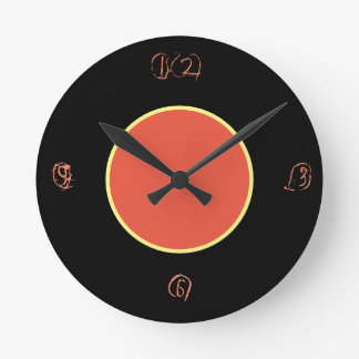 black and peach color wall clock