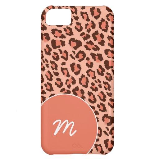 Black and Peach Leopard Skin iPhone 5C Case