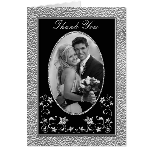 Black and Pewter Floral Thank You Card with Photo