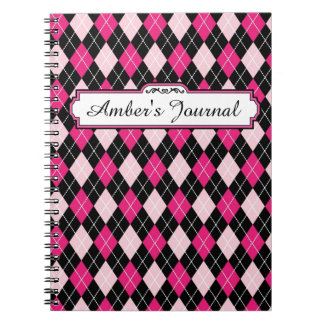 Black and Pink Argyle Notebook