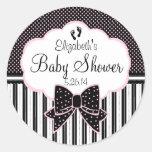 Black and Pink-Baby Shower Classic Round Sticker