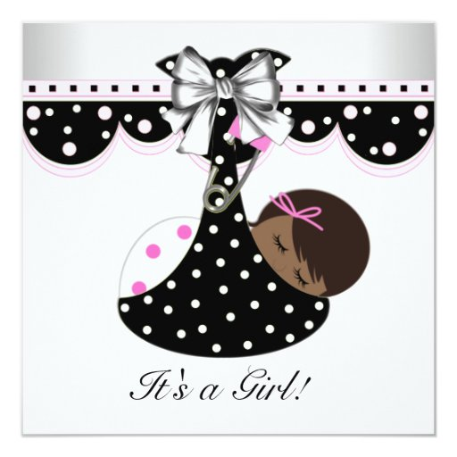 Black and Pink Baby Shower Invitations