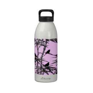 Black And Pink Birds In Tree Drinking Bottle