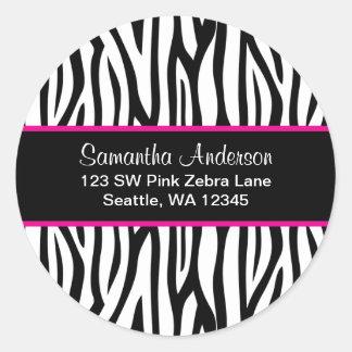 Black and Pink Blue Zebra Custom Address Label Classic Round Sticker
