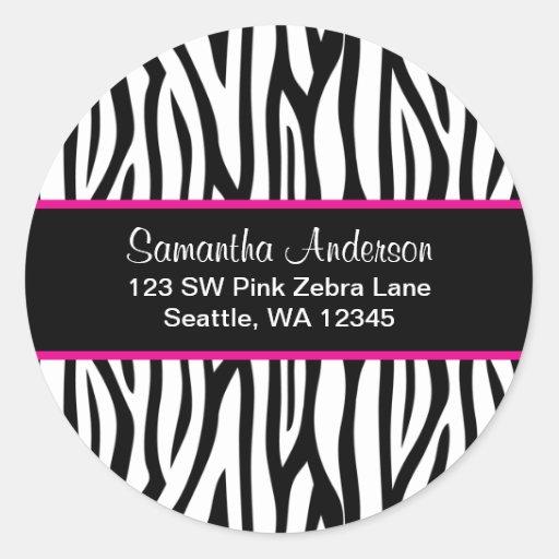 Black and Pink Blue Zebra Custom Address Label Round Stickers