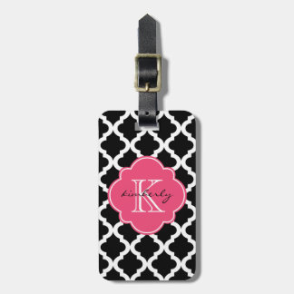 Black and Pink Blush Moroccan Quatrefoil Print Luggage Tag