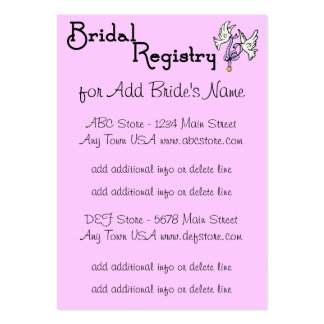 Black And Pink Bridal Registry Cards Large Business Cards (Pack Of 100)