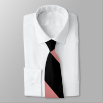 Black and Pink Broad University Stripe Neck Tie