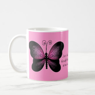 Black and Pink Butterflies Quote Mug