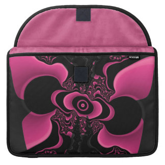 Black and Pink Butterfly Fractal macbook sleeve