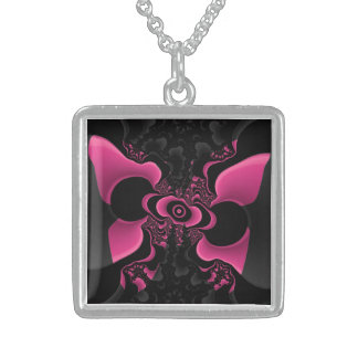 Black and Pink Butterfly Fractal Necklace