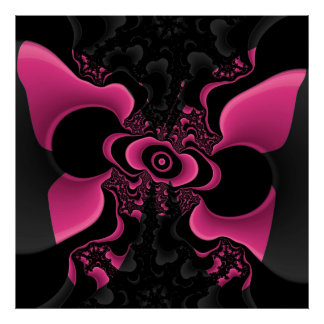 Black and Pink Butterfly Fractal Poster
