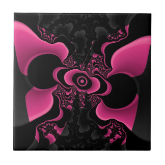 Black and Pink Butterfly Fractal tile