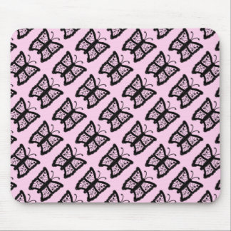 Black and Pink Butterfly Mouse Pad