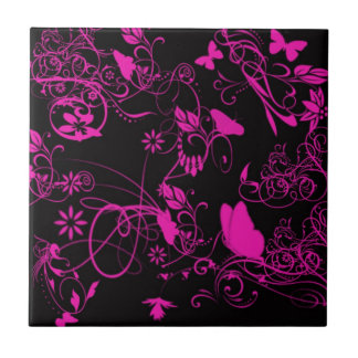 Black And Pink Butterfly Tile