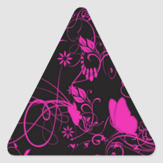 Black And Pink Butterfly Triangle Sticker