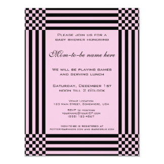 Black and Pink Checkers Stripes Baby Shower Card