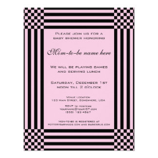 Black and Pink Checkers Stripes Baby Shower Invitation