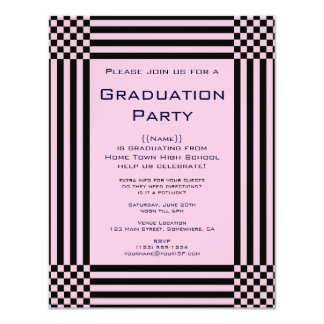 """Black and Pink Checkers Stripes Graduation Party 4.25"""" X 5.5"""" Invitation Card"""