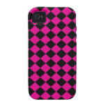 Black and Pink Checkers Vibe iPhone 4 Covers