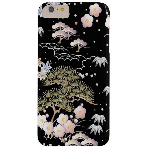 Black and Pink Cherry Blossom Tree Sakura Pattern Barely There iPhone 6 Plus Case