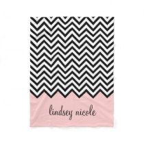Black and Pink Chevron Custom Monogram Fleece Blanket
