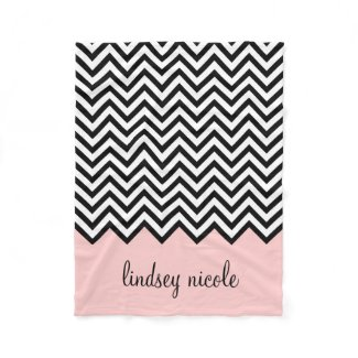 Black and Pink Chevron Custom Monogram