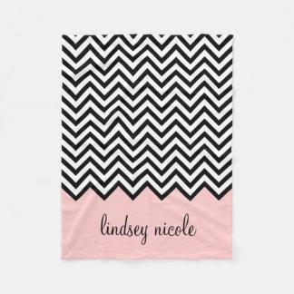 Black and Pink Chevron Custom Monogram Fleece Blanket