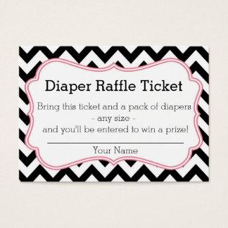 Black and Pink Chevron Diaper Raffle Ticket