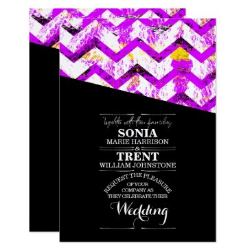 Wedding Themed Black and Pink Chevron Distressed Wedding Card