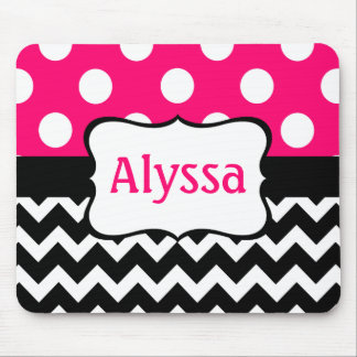 Black and Pink Chevron Dots Personalized Mouse Pad