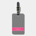 Black and Pink Chevron Pattern Personalized Luggage Tag