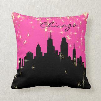 Black and Pink Chicago Landmark Pillow