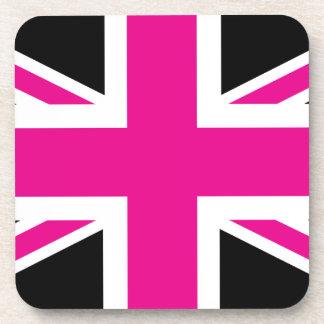Black and Pink Classic Union Jack British(UK) Flag Beverage Coaster