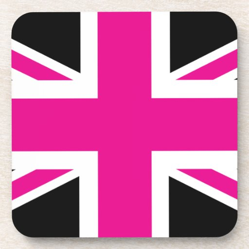 Black and pink classic union jack british uk flag for Pink union jack bedding